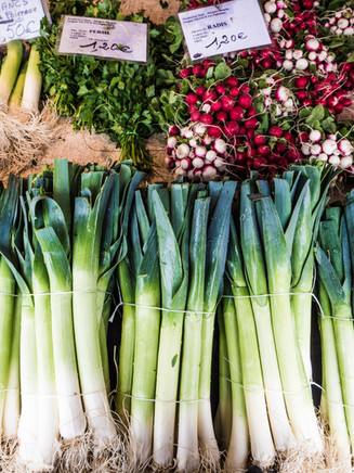 Leeks and radishes