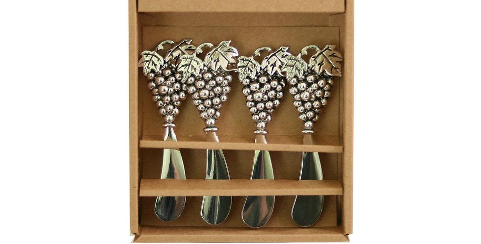 Spreader Knives Set of 4 - Metal Grapes