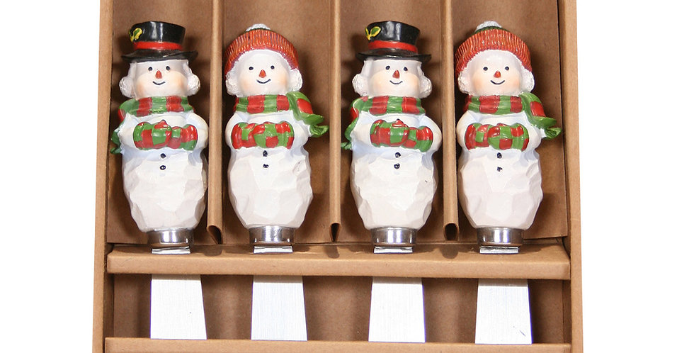 Set of 4 Spreaders - Mr. & Mrs. Snowman