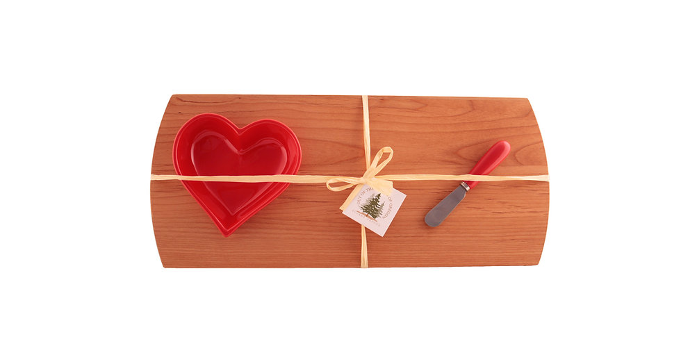 Large Heart Bowl with Board and Spreader Set