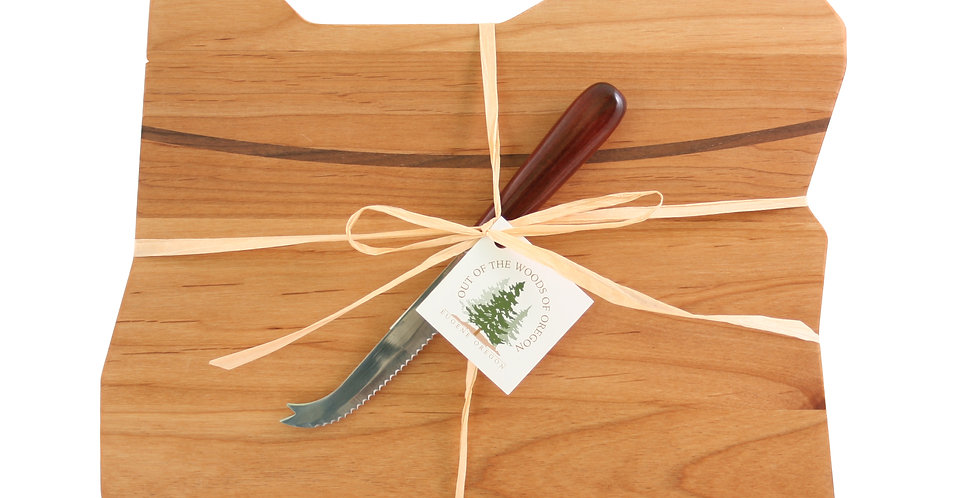 Oregon Board - Deluxe with Walnut Cheese Knife