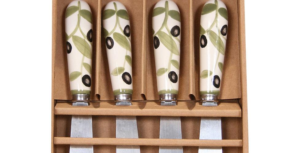 Set of 4 Ceramic Spreaders - Olives