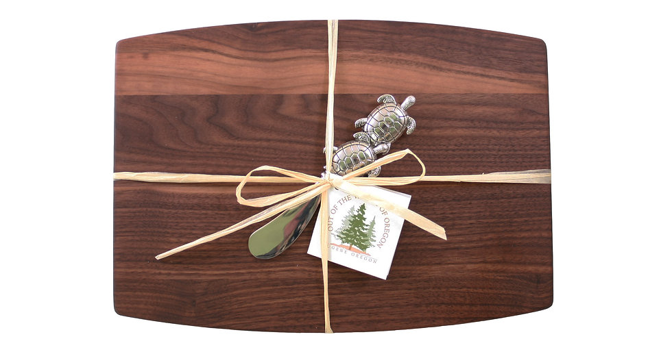 Walnut Cheese Board with Metal Spreader Turtles
