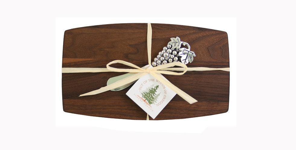 Walnut Pate Board - With Spreader Metal Owl