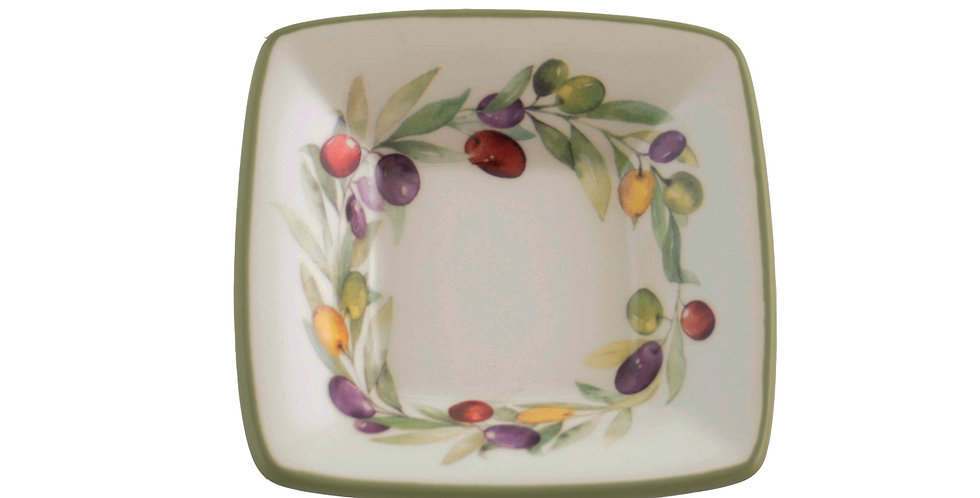 "3-3/4"""" Square Ceramic Bowl Olive Wreath"