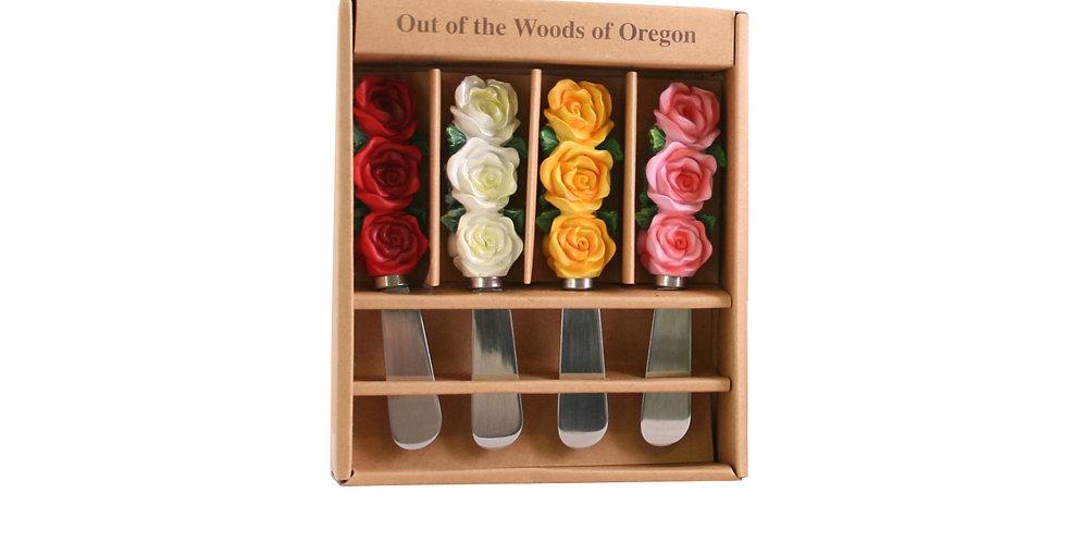 Spreader Knives Set of 4 - Roses (Resin)
