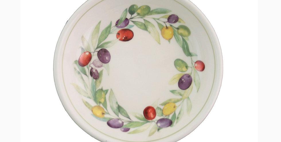 """3-3/4"""" Round Ceramic Bowl Olive Wreath"""