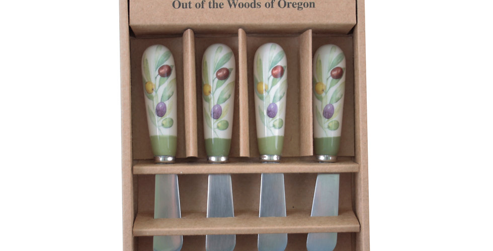 Set of 4 Ceramic Spreaders - Olive Wreath