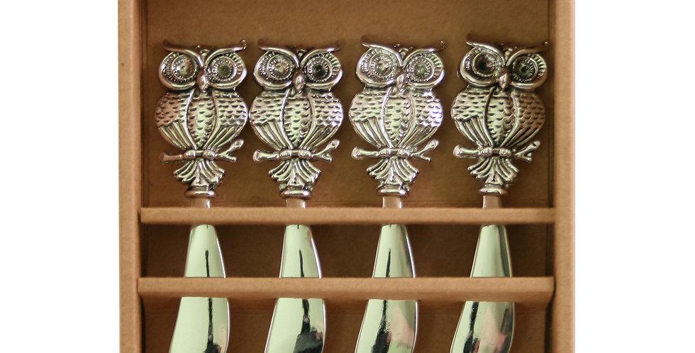 Metal Owl- Set of 4