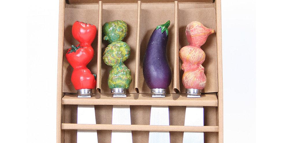 Set of 4 Spreader Knives - Vegetables
