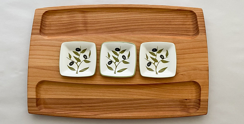 Serving Board with 3 Dipping Bowls