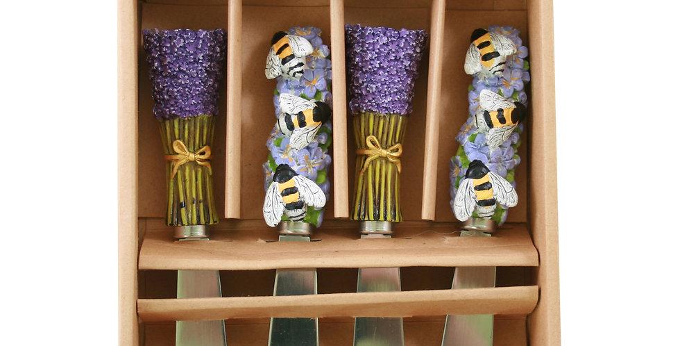 Spreader Knives Set of 4 - Lavender & Bees