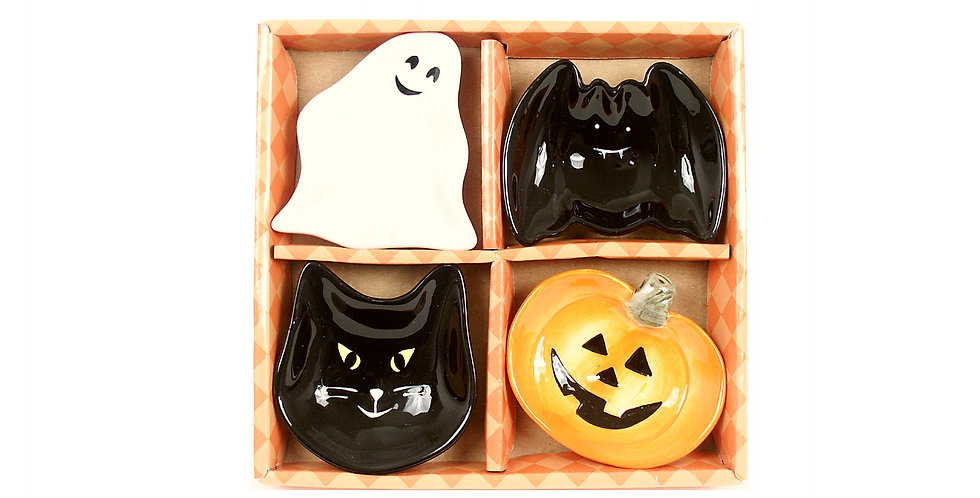 Set of 4 Ceramic Dipping& Condiment Bowls - Halloween