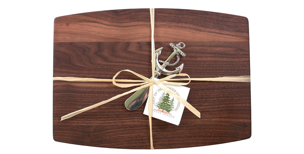 Walnut Cheese Board with Metal Spreader Anchor
