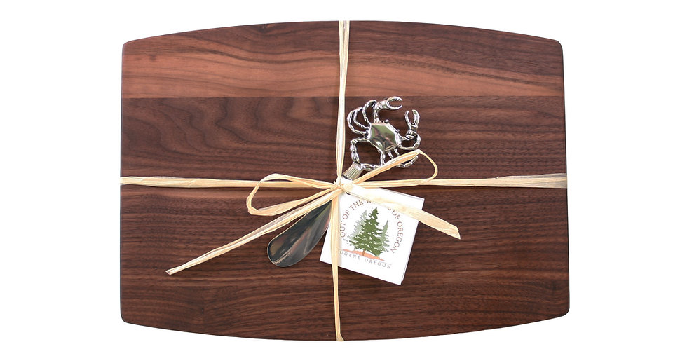 Walnut Cheese Board with Metal Spreader Crab