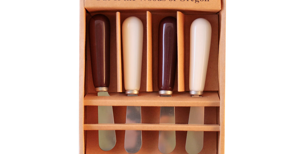 Set of 4 Ceramic Spreaders - Burgundy and White
