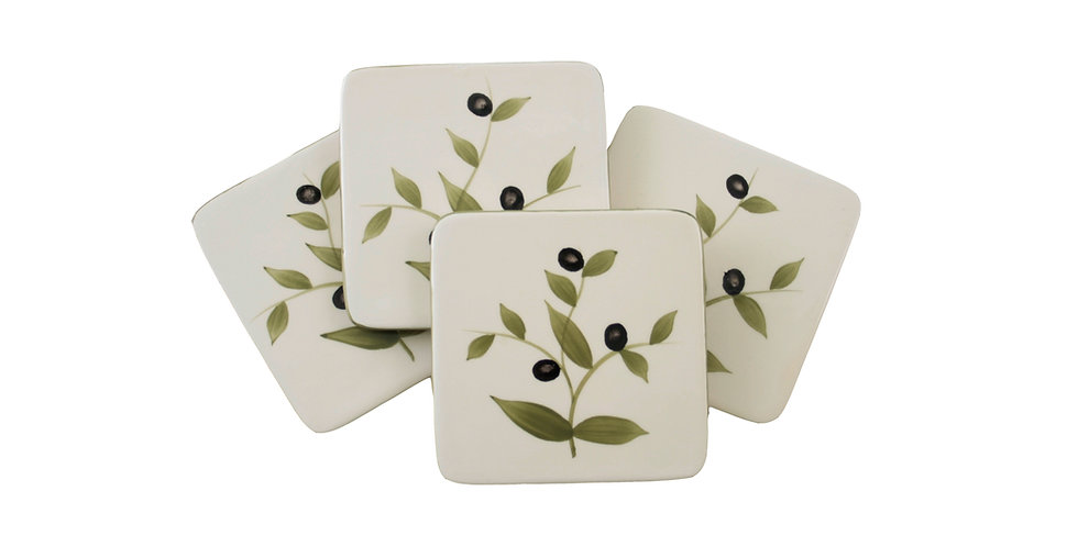Set of 4 Ceramic Coasters - Olives