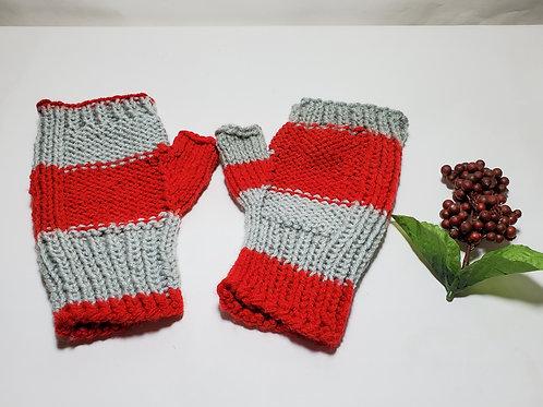 Scarlet and Gray Fingerless Gloves Hand Knitted Gloves