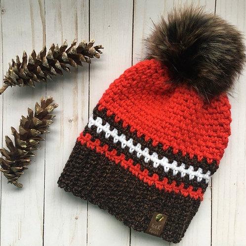 Hand Crochet Beanie, Pom Pom Hat, Fur pom beanie, faux fur hat  ~ Highland Toque