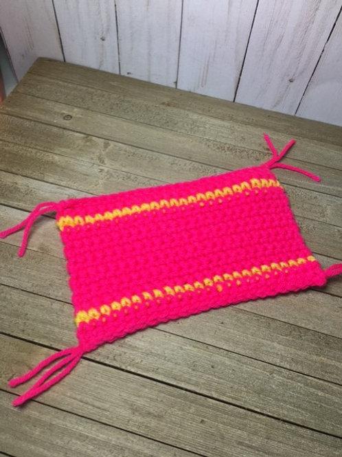 Mug Rug - pink with yellow stripes