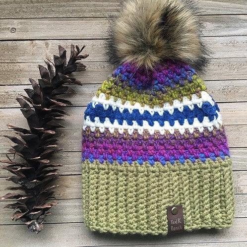 Faux fur pom hat, beanie, hand crocheted hat, crocheted beanie