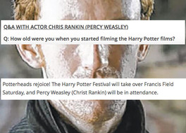 WE WANT HARRY: Unimportant Harry Potter Actor in Town for Festival - Record Forgets His Real Name