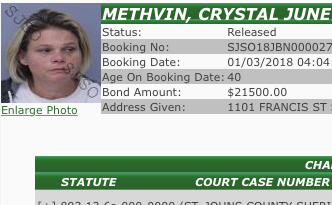 THAT NAME THO! SJC Woman Named CRYSTAL METHvin Arrested For...