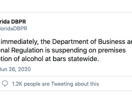 DBPR Suspends Alcohol Consumption In Bars Effective Immediately
