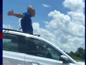 Man Driving From Sunroof Wanted To Be Arrested To Get Away From Wife