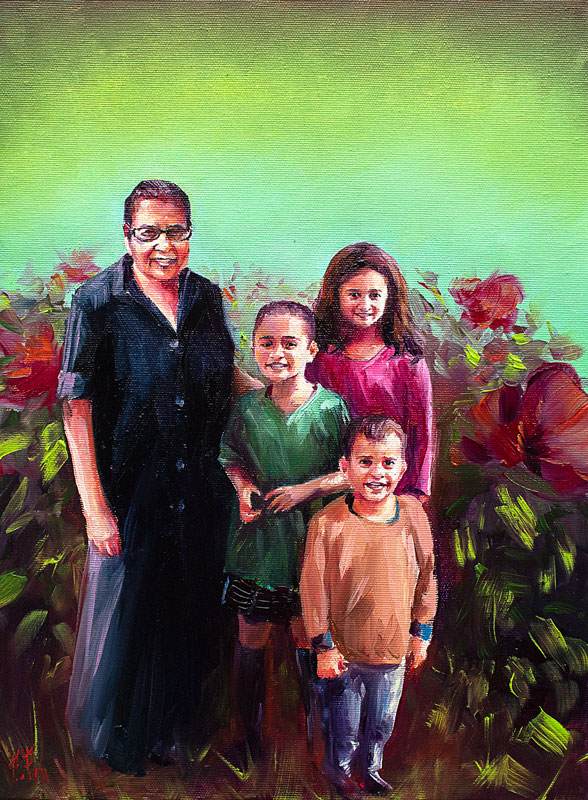 Custom portrait painting family