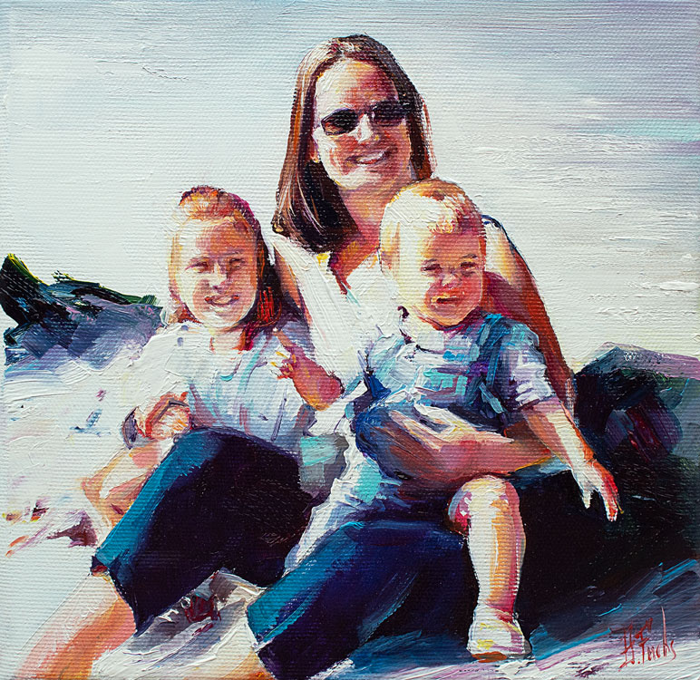 Family portrait painting in oil