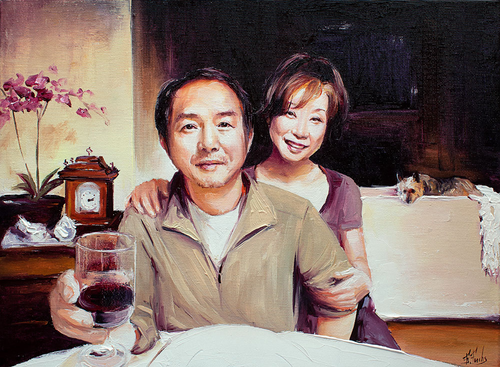 Family oil painting