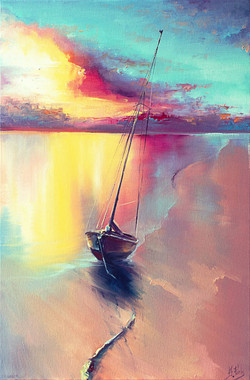Colorfull Sailing Painting Print