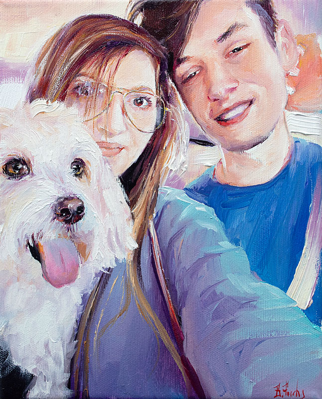 Portrait Painting with a dog