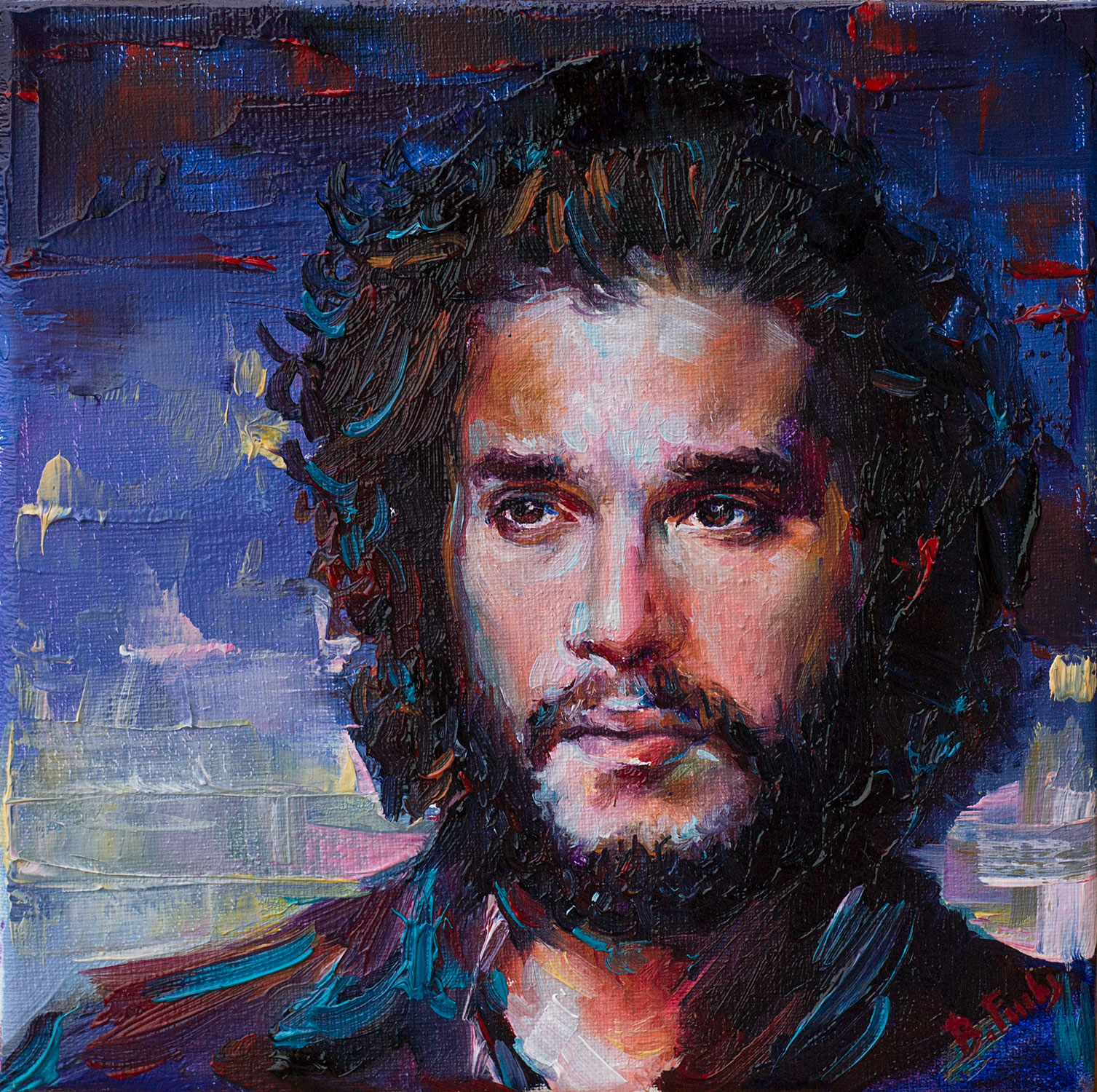 Contemporary oil portrait. Jon Snow