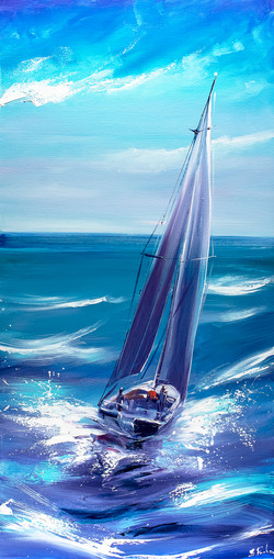 Sailing turquoise art