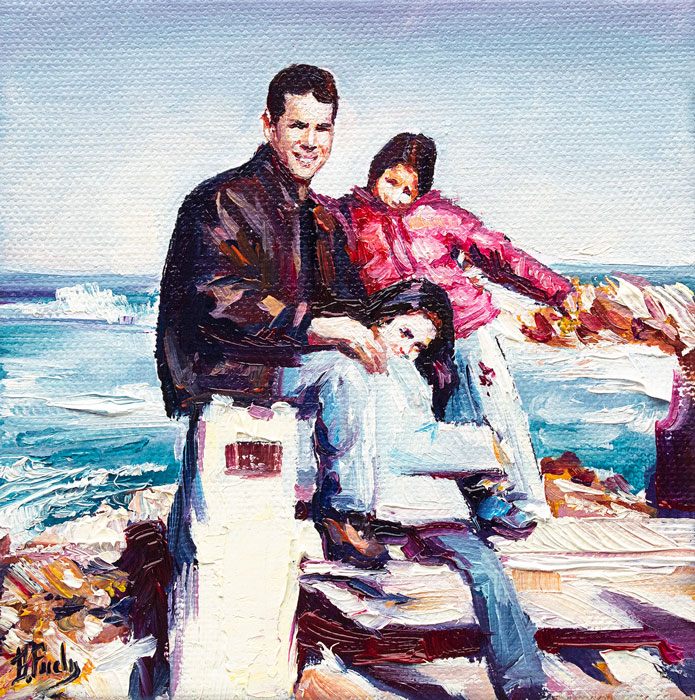portrait - father with children