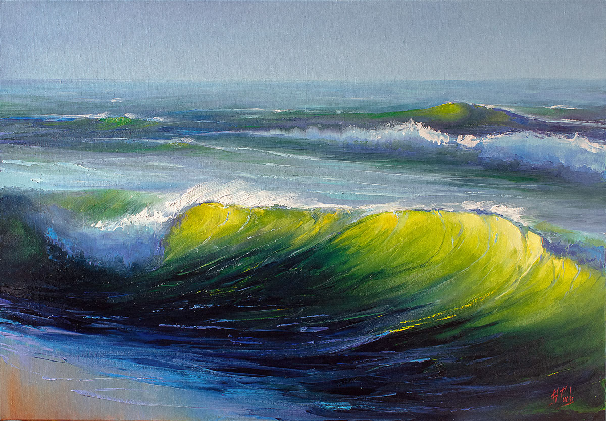 Green wave art