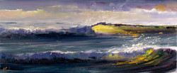 Waves crashing Beach painting