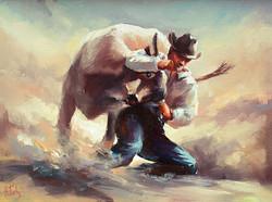 Steer wrestling art