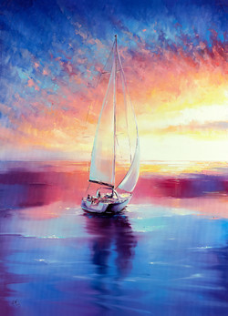 Sailing Sunset Colorful