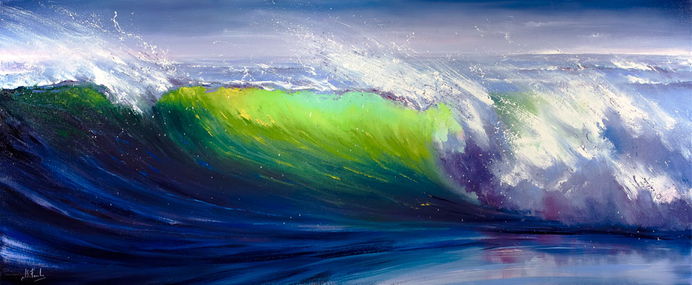 Green Wave Painting Print