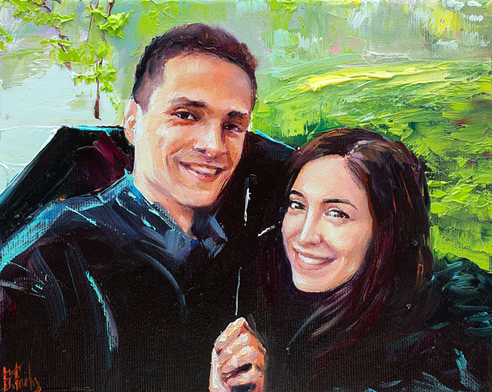 couple oil portrait painting
