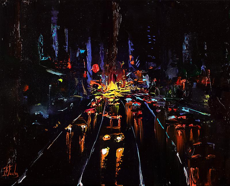 Cityscape night painting