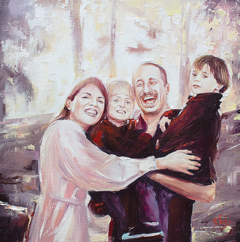 Family oil portrait painting