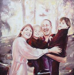 Family oil portrait painting