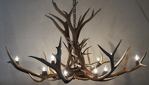 Large twelve light elk chandelier