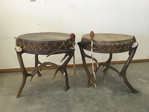 Pair of Elk Drum Endtables