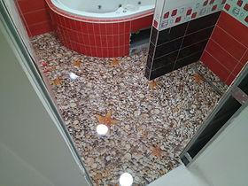3D epoxidová podlaha do koupelny - mušle