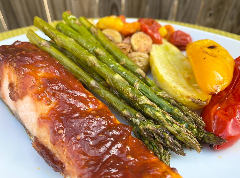 Roasted salmon with tomato jam glaze